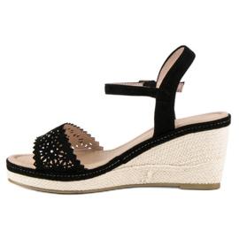 Ideal Shoes Czarne espadryle na koturnie 1