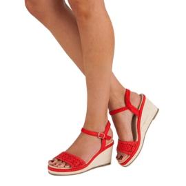 Ideal Shoes Czerwone Espadryle Na Koturnie 3