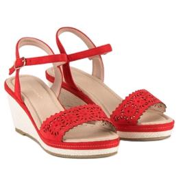 Ideal Shoes Czerwone Espadryle Na Koturnie 1