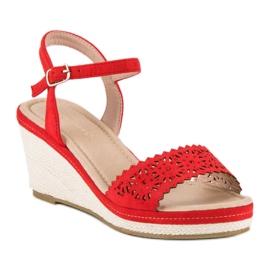 Ideal Shoes Czerwone Espadryle Na Koturnie 4