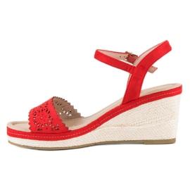 Ideal Shoes Czerwone Espadryle Na Koturnie 5