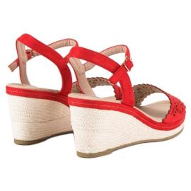 Ideal Shoes Czerwone Espadryle Na Koturnie 6