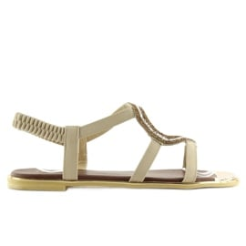 Sandałki asymetryczne beżowe 4157 Beige beżowy 1