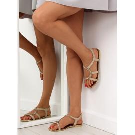 Sandałki asymetryczne beżowe 4157 Beige beżowy 5