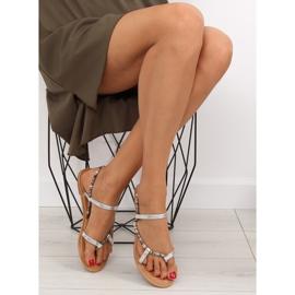 Sandałki japonki srebrne 5130 silver szare 6