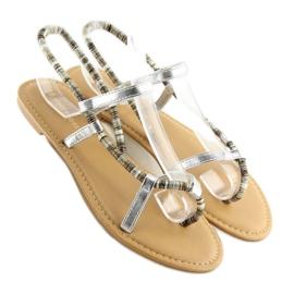Sandałki japonki srebrne 5130 silver szare 2