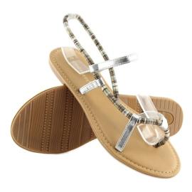 Sandałki japonki srebrne 5130 silver szare 4