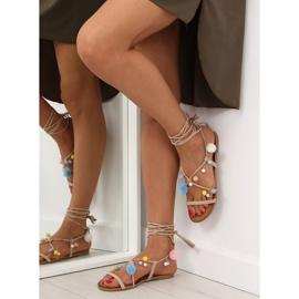 Sandałki z pomponami beżowe 6009 beige beżowy 1