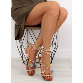 Sandałki z pomponami beżowe 6009 beige beżowy 2