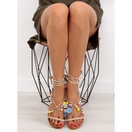 Sandałki z pomponami beżowe 6009 beige beżowy 5