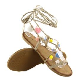 Sandałki z pomponami beżowe 6009 beige beżowy 6