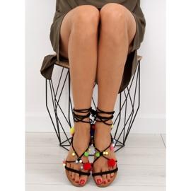 Sandałki z pomponami czarne 6009 black 5