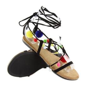 Sandałki z pomponami czarne 6009 black 6
