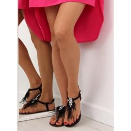 Sandałki z piórkami czarne 7267 Black 3