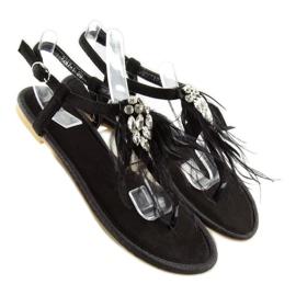 Sandałki z piórkami czarne 7267 Black 2