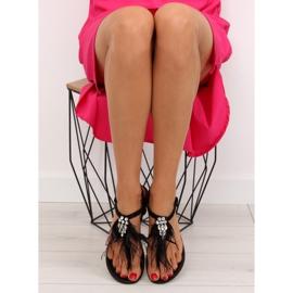 Sandałki z piórkami czarne 7267 Black 1