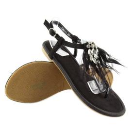 Sandałki z piórkami czarne 7267 Black 4