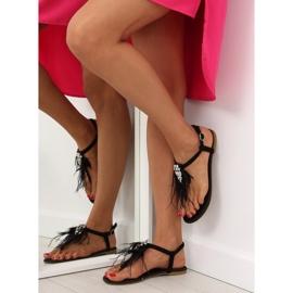 Sandałki z piórkami czarne 7267 Black 5