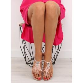 Sandałki z piórkami różowe 7267 Pink 2