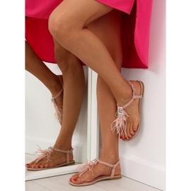 Sandałki z piórkami różowe 7267 Pink 4