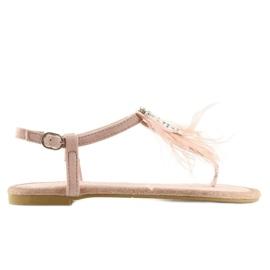 Sandałki z piórkami różowe 7267 Pink 5