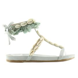 Sandałki z muszelkami niebieskie 8225 L.BLUE 3