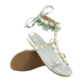 Sandałki z muszelkami niebieskie 8225 L.BLUE 5