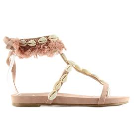 Sandałki z muszelkami różowe 8225 Pink 1