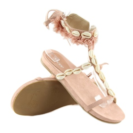 Sandałki z muszelkami różowe 8225 Pink 2