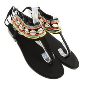 Sandałki z koralikami czarne 8241 black 1