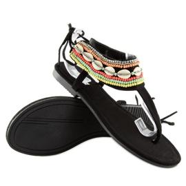 Sandałki z koralikami czarne 8241 black 4