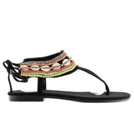 Sandałki z koralikami czarne 8241 black 5