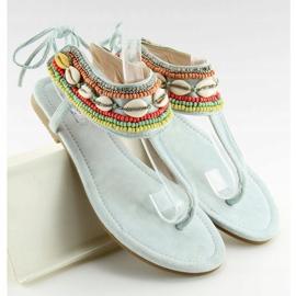 Sandałki z koralikami niebieskie 8241 L.BLUE 1