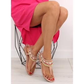 Sandałki z koralikami różowe 8241 Pink 2