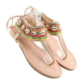 Sandałki z koralikami różowe 8241 Pink 1