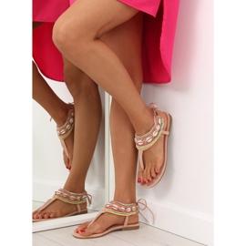 Sandałki z koralikami różowe 8241 Pink 3