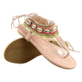 Sandałki z koralikami różowe 8241 Pink 4