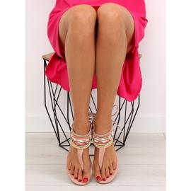 Sandałki z koralikami różowe 8241 Pink 5