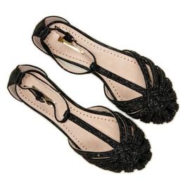 Corina Czarne sandały z brokatem 6