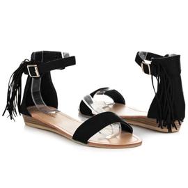 Abloom Zamszowe sandałki z frędzlami czarne 1