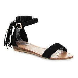 Abloom Zamszowe sandałki z frędzlami czarne 2