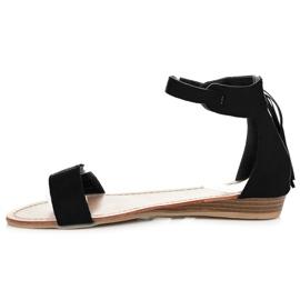 Abloom Zamszowe sandałki z frędzlami czarne 3