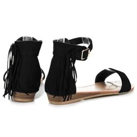 Abloom Zamszowe sandałki z frędzlami czarne 4