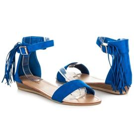 Abloom Zamszowe sandałki z frędzlami niebieskie 1