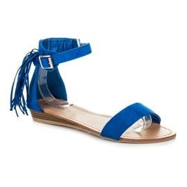 Abloom Zamszowe sandałki z frędzlami niebieskie 2