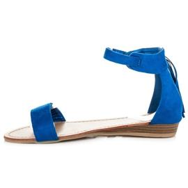 Abloom Zamszowe sandałki z frędzlami niebieskie 3