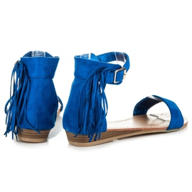 Abloom Zamszowe sandałki z frędzlami niebieskie 4