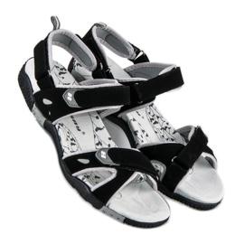 Hasby Damskie sandały na rzepy czarne 1