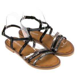 Bestelle Czarne sandały zapinane na sprzączkę 1