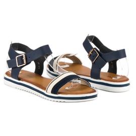 Top Shoes Marynarskie sandały damskie niebieskie 4